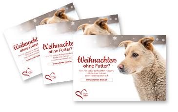 Schenke Liebe Weihnachts-Aktion Werbemittel Flyer Tierschutz-Shop Futter spenden