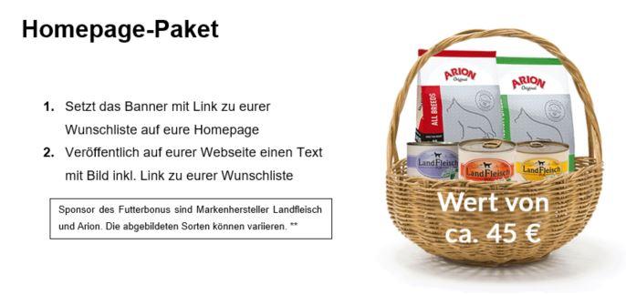 Futterbonus Homepage Paket