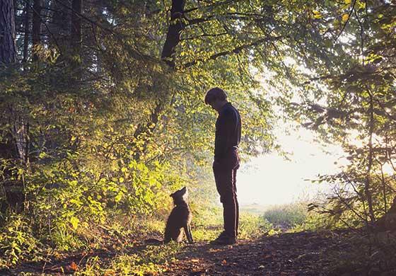 mann mit hund im wald tipps gegen langeweile